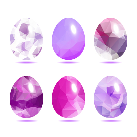 paschal: Easter eggs set  low polygon in purple color isolated on white background vector illustration Illustration