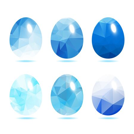 paschal: Easter eggs set  low polygon in Blue color isolated on white background vector illustration Illustration