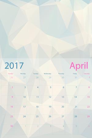 april: Vector planning calendar April 2017 low polygon Illustration