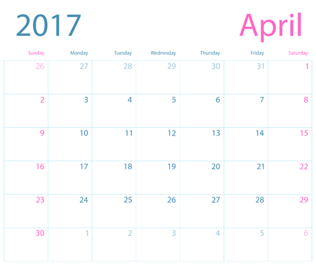 Vector planning calendar April 2017