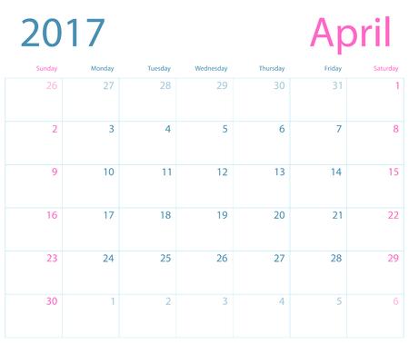 Vector planning kalender april 2017