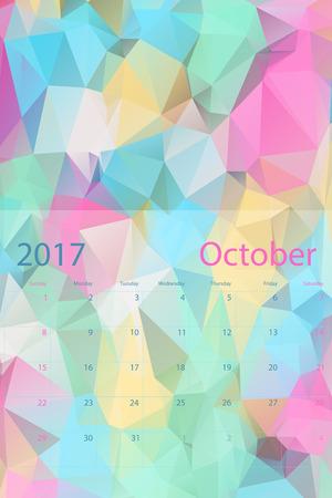 planning calendar: Vector planning calendar October 2017 low polygon