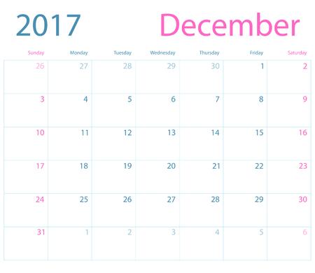 calendario diciembre: calendario de planificación del vector de diciembre de 2017