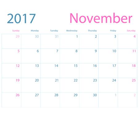 planning calendar: Vector planning calendar November 2017 Illustration