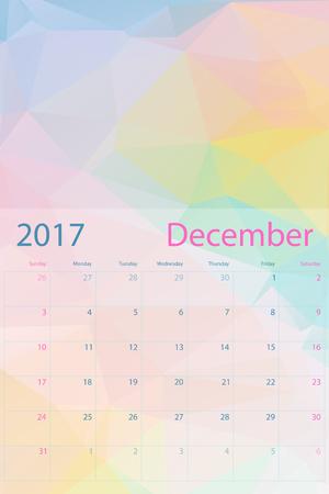 in december: Vector planning calendar December 2017 low polygon