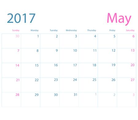 planning calendar: Vector planning calendar May 2017 Illustration