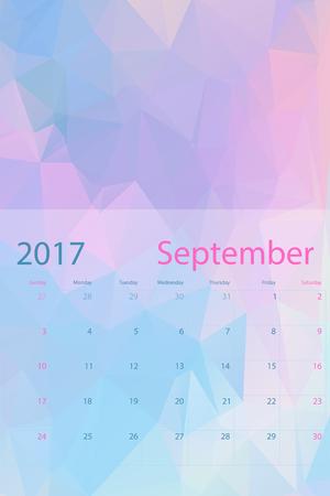 calendar september: Vector planning calendar September 2017 low polygon
