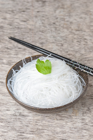 threadlike: Mung bean vermicelli or cellophane noodles, a transparent thread-like noodle made from dried mung bean paste for use in traditional Asian cuisine Stock Photo