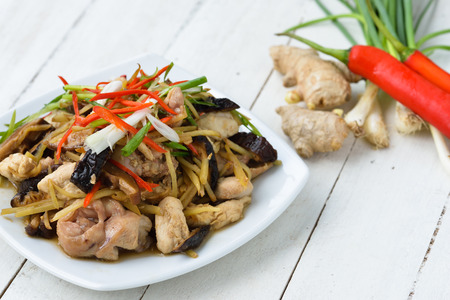Stir fried chicken, ginger and mixed vegetables Stock Photo