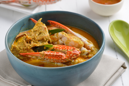 coconut crab: Crab meat coconut milk curry, Thai spicy soup cuisine