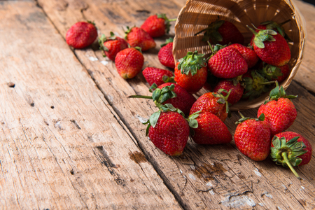 fruitful: Strawberry on wooden background