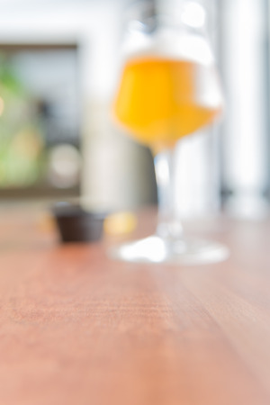 blurring: blurring glass of beer