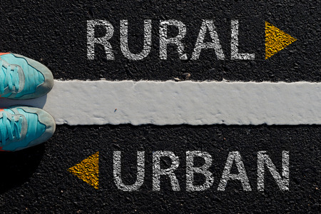 different way: Rural Urban with arrow different way concept to choose way to urban or rural