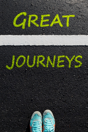 to move forward: Inspiration quote :  Great Journeys  on aerial view of running shoe  on road with move forward yellow arrow ,Motivational typographic.
