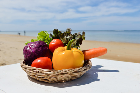 phuket food: Fresh vegetables in a basket on the beach