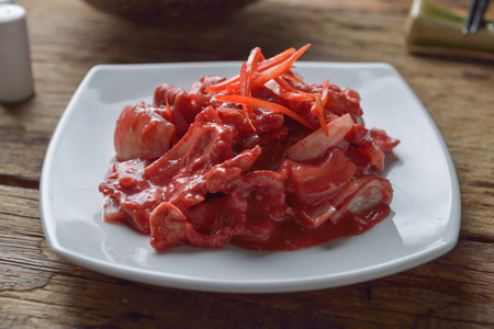 Stir fried pork with Pickled bean curd sauce and onion asian thai food