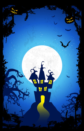 Halloween night background with Castle, creepy Tree, pumpkins, Bats and White Moon in the Back.