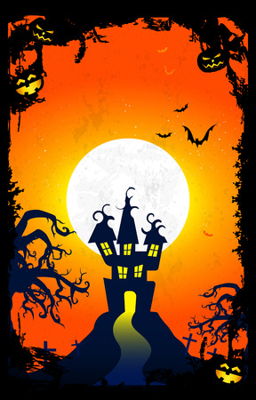 necropolis: Halloween night orange sky with Castle, creepy Tree, pumpkins, Bats and White Moon in the Background. Illustration