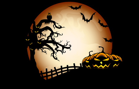 Halloween night background with creepy Tree and pumpkins the Grass Bats and Moon in the Back