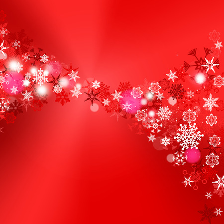 Red snow Christmas Snowflakes And Happy New Year background with copy space for text. Illustration EPS10 Illustration