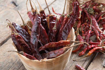 hottest: Dried chili peppers on wooden background