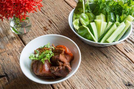 pork stewed in the gravy, thai food Stock Photo