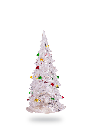 plastic christmas tree: Christmas tree toy plastic clear and shiny  isolated on white background