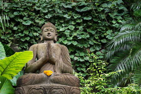 Buddha In The Bamboo Forrest And Green Garden Stock Photo, Picture ...