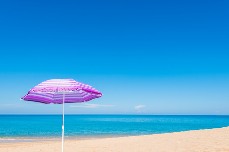 sunshade: Violet parasol , purple umbrella on the beach at sunny day phuket thailand