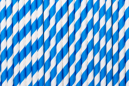 Blue and white stripe straw for background Stock Photo