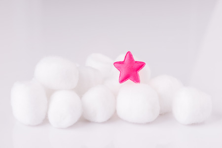 Cotton wool on white background with copy space