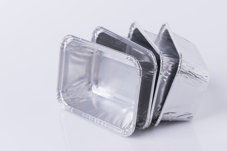Aluminum foil tray on white background 스톡 콘텐츠