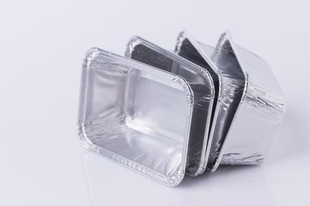 Aluminum foil tray on white background Foto de archivo
