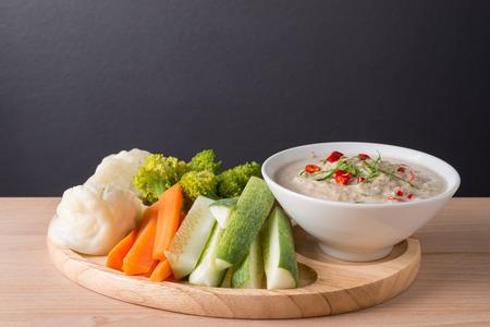 Lon Taochiao : soya bean dipping sauce (thai food) and Vegetable