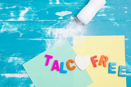 talcum powder, use talc free powder concept with copy space