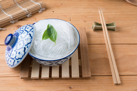 Mung bean vermicelli or cellophane noodles, a transparent thread-like noodle made from dried mung bean paste for use in traditional Asian cuisine Stok Fotoğraf