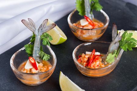 shrimp cocktail: Seafood cocktail shrimp prawn in spicy seafood dip