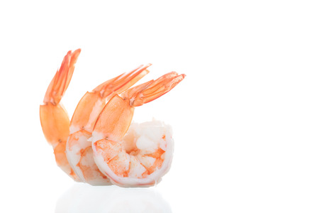 Shrimps. Prawns isolated on a White Background. Seafood concept