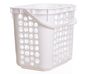 Empty white plastic cloth basket isolted on a white background