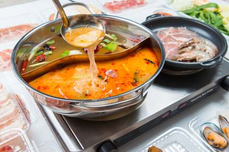 Dishes prepared with medicinal herbs pan Chinese food(Hot pot)
