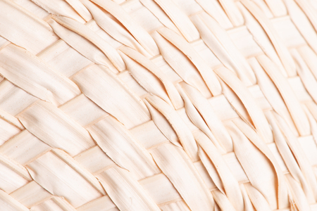 Texture of dry fan palm, Licuala paludosa or Licuala sqinosa, leaf weave into the fan. for background Stock Photo