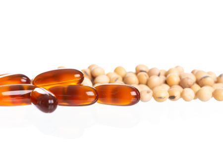 Lecithin gel pills capsule isolated on white background