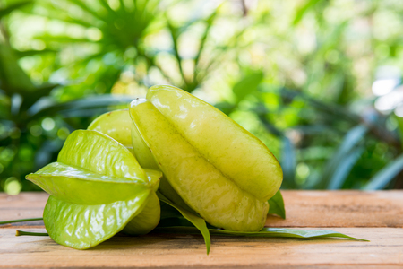 Star apple on green blured nature background 写真素材