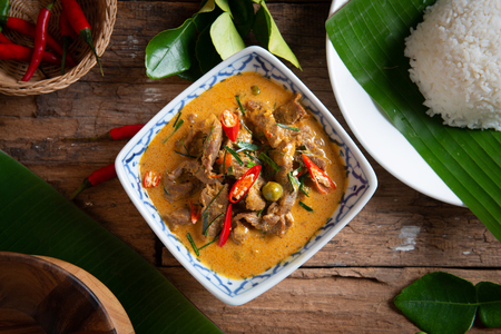 Curry with Beef Recipe (Panang Neua). Thai food Beef peanut-coconut cream curry. 写真素材