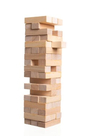Close up blocks wood game isolated on white background. With copy space for text or design concept 版權商用圖片