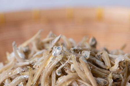 Sun dried tiny anchovies used in Asian cuisine