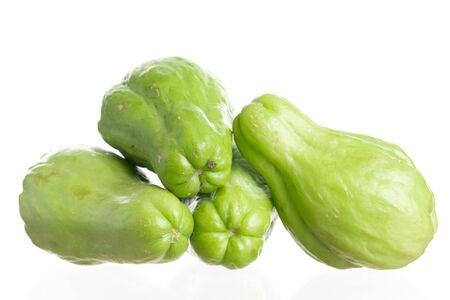 Fresh chayote fruits (Sechium edulis) isolated on white background 版權商用圖片
