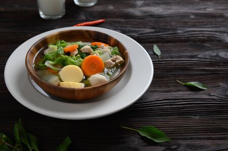 Clear Soup with Tofu and Minced Pork - Kang Jued Tao Hoo 免版税图像