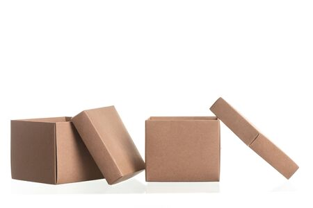 cardboard box for parcels from сraft isolated on white background, delivery concept, mock up, copy space 版權商用圖片