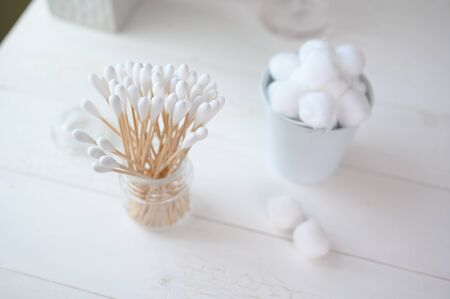 White cotton swabs cotton bud and cotton ball on clean background Stockfoto